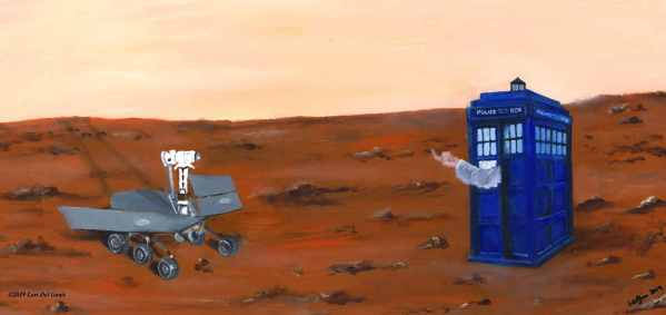 'Opportunity' depicts NASA Martian rover beckoned to by a hand emerging from a blue police box. Oil painting by Lori Del Genis (2019)