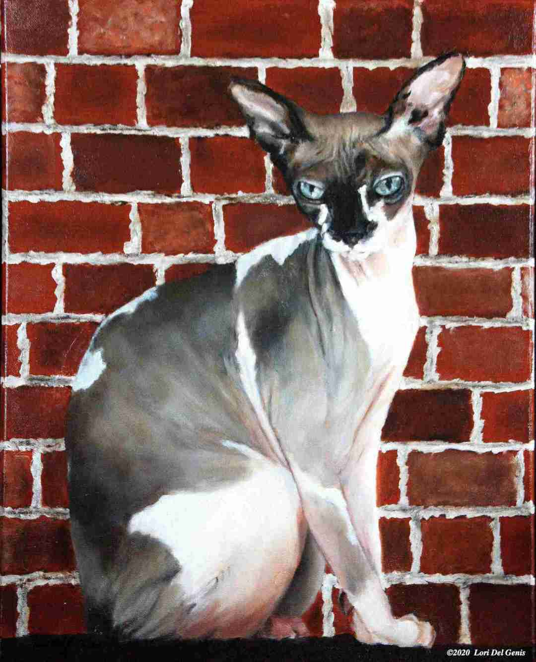 Sebastian commissioned oil portrait of a hairless sphinx cat with brown markings (Lori Del Genis, 2020)