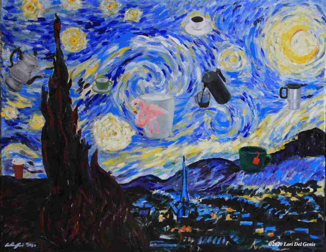Starry All-Nighter, after Van Gogh's 'The Starry Night', with a few additions. 16x20 Oil painting by Lori Del Genis (202