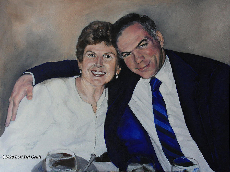 'Happy Anniversary' depicts a smiling couple posing together for a photo. The man's arm is around his wife. Oil painting by Lori Del Genis.
