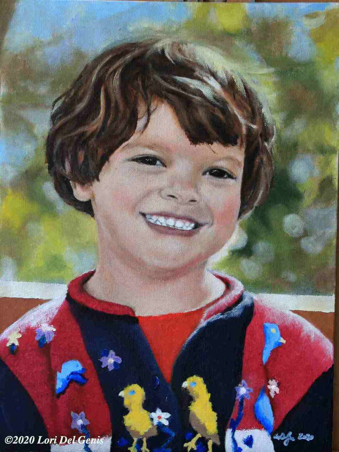 'M, aged 5' commissioned oil painting of an adorable smiling wee one in a colorful sweater by Lori Del Genis (2020)