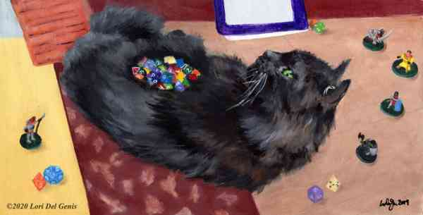'Cat of Holding'. Oil painting of a black cat laying in the middle of a gaming table, surrounded by playing pieces. (Lori Del Genis, 2020)
