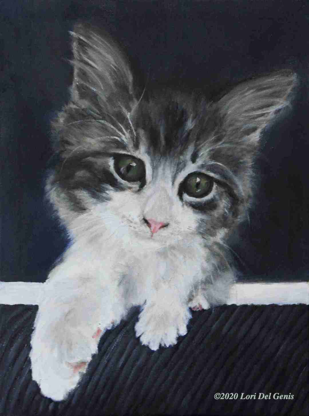 """'Lulu"""" oil portrait commission of a small kitten with curious paw outstretched. (Lori Del Genis, 2020)"""