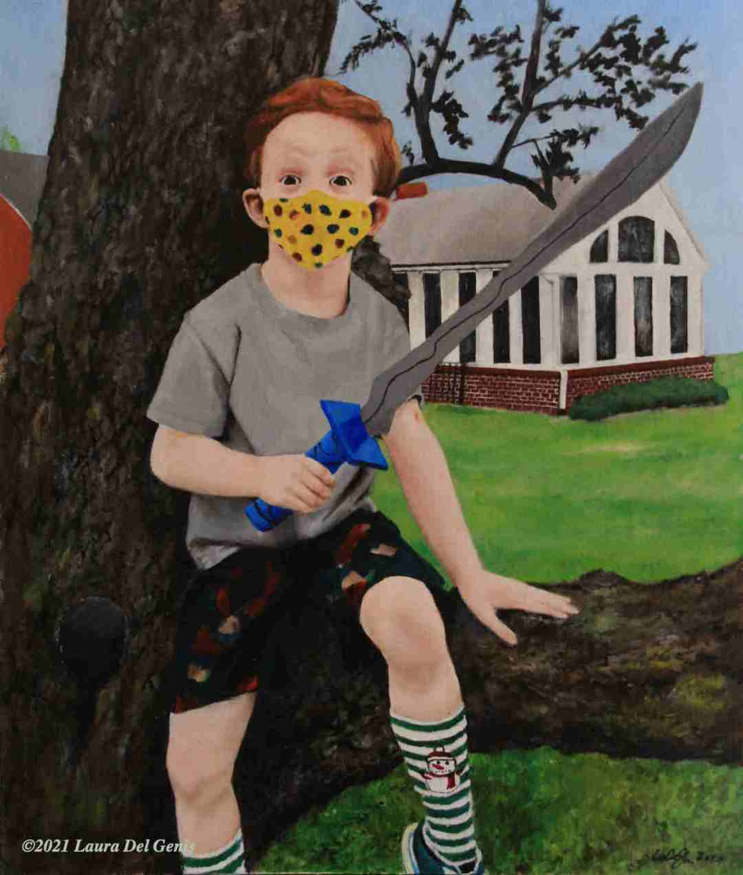'The Masked Avenger' oil portrait commission of a masked boy sitting on a tree limb brandishing a toy sword. (Lori Del Genis, 2021)