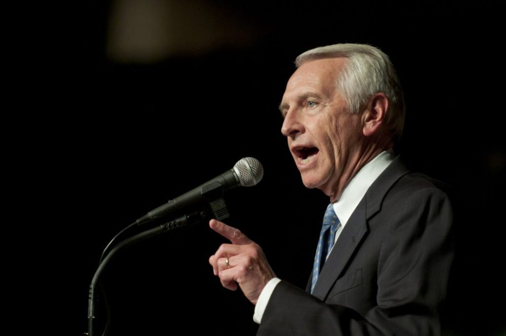 Kentucy Gov. Steve Beshear makes his victory speech during a election night rally in Frankfort, Ky., Tuesday Nov. 8, 2011. Beshear was re-elected Tuesday, becoming the second Democrat to win a U.S. gubernatorial race this year amid lingering economic uncertainty that's already proving worrisome to President Barack Obama's 2012 effort. (AP Photo/John Flavell)