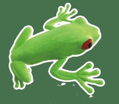 Gniotek gumowy z groszkiem - żaba drzewna (11 cm)