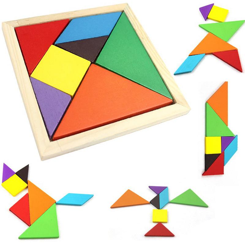 Układanka logiczna drewniana kolorowa TANGRAM 2D (18x18) Afiti.pl