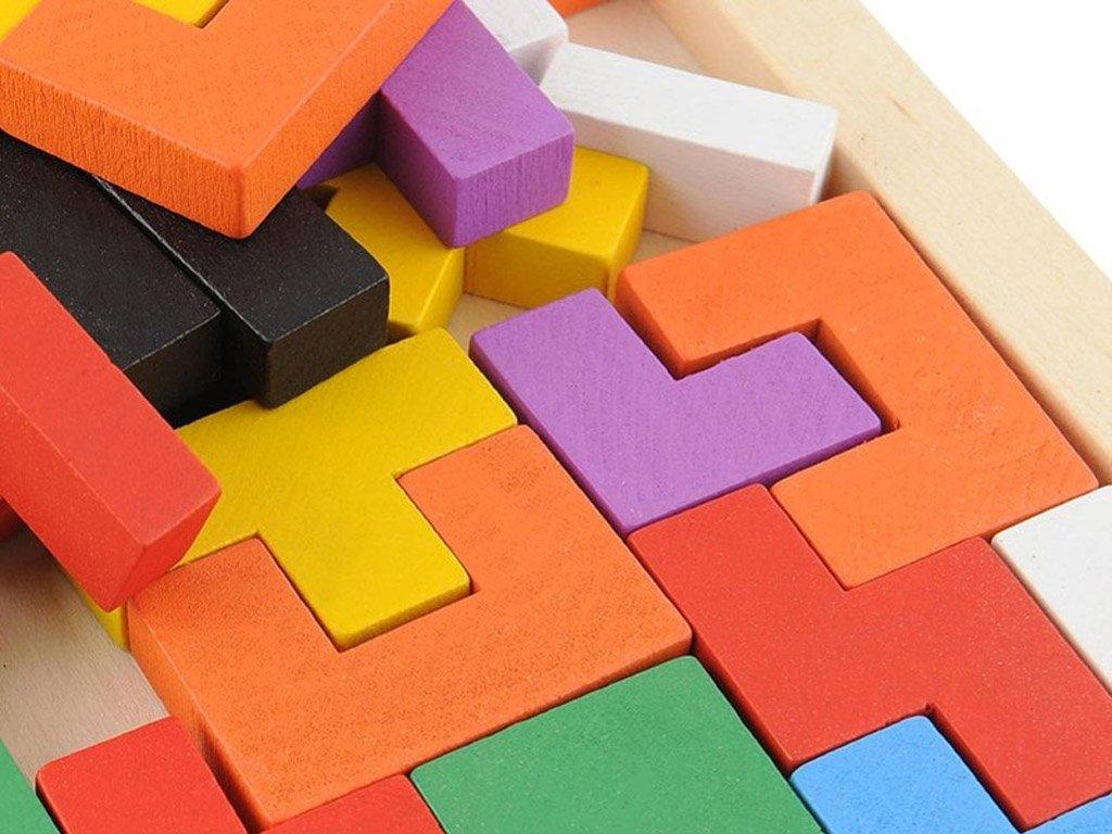 Układanka logiczna drewniana kolorowa TETRIS 2D (40 el. 26 cm) drewno sosnowe