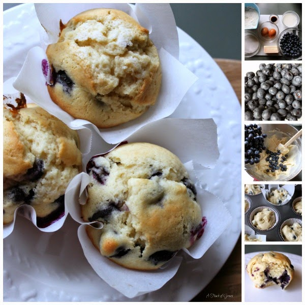 If you're looking for a moist and delicious blueberry muffin recipe, look no further.  These homemade blueberry muffins are bursting with flavor and are great for breakfast with coffee, or an afternoon snack. #muffins #baking #recipe