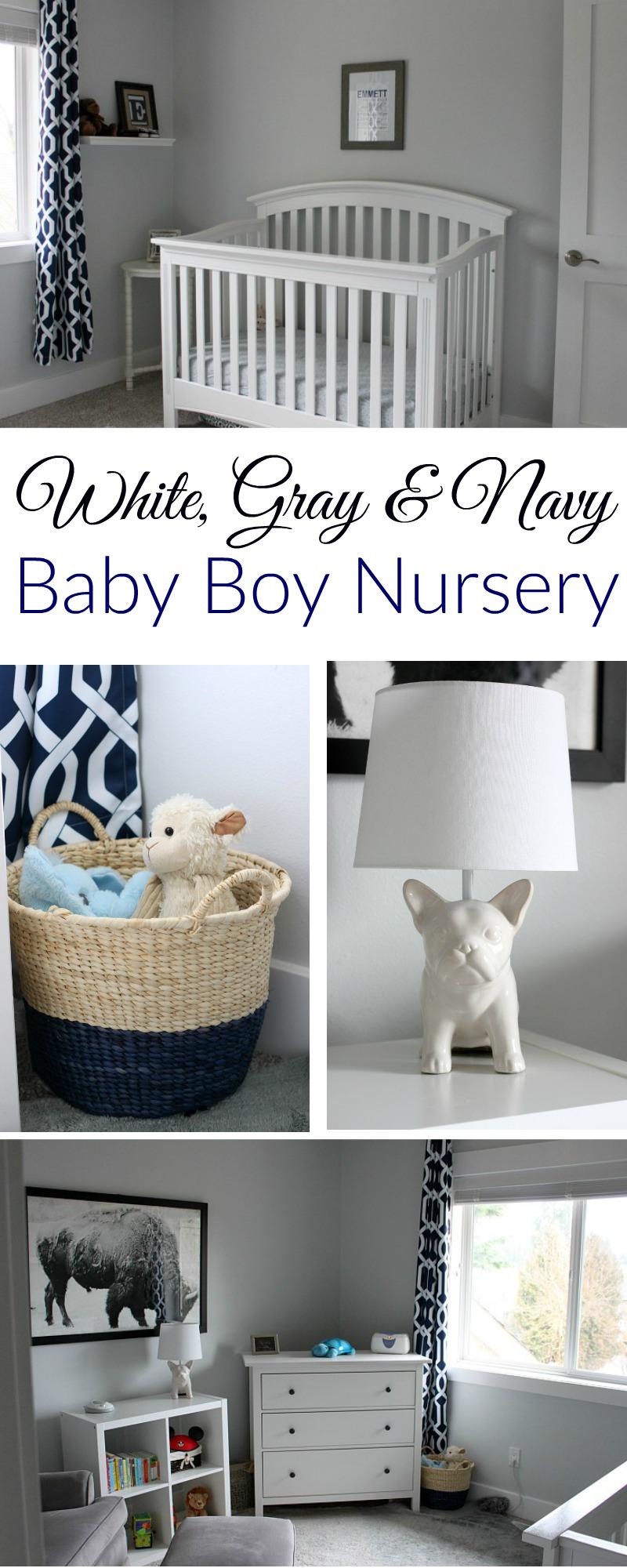 Baby Boy Nursery: EJ's White, Gray And Navy Baby Boy Nursery (finally!)