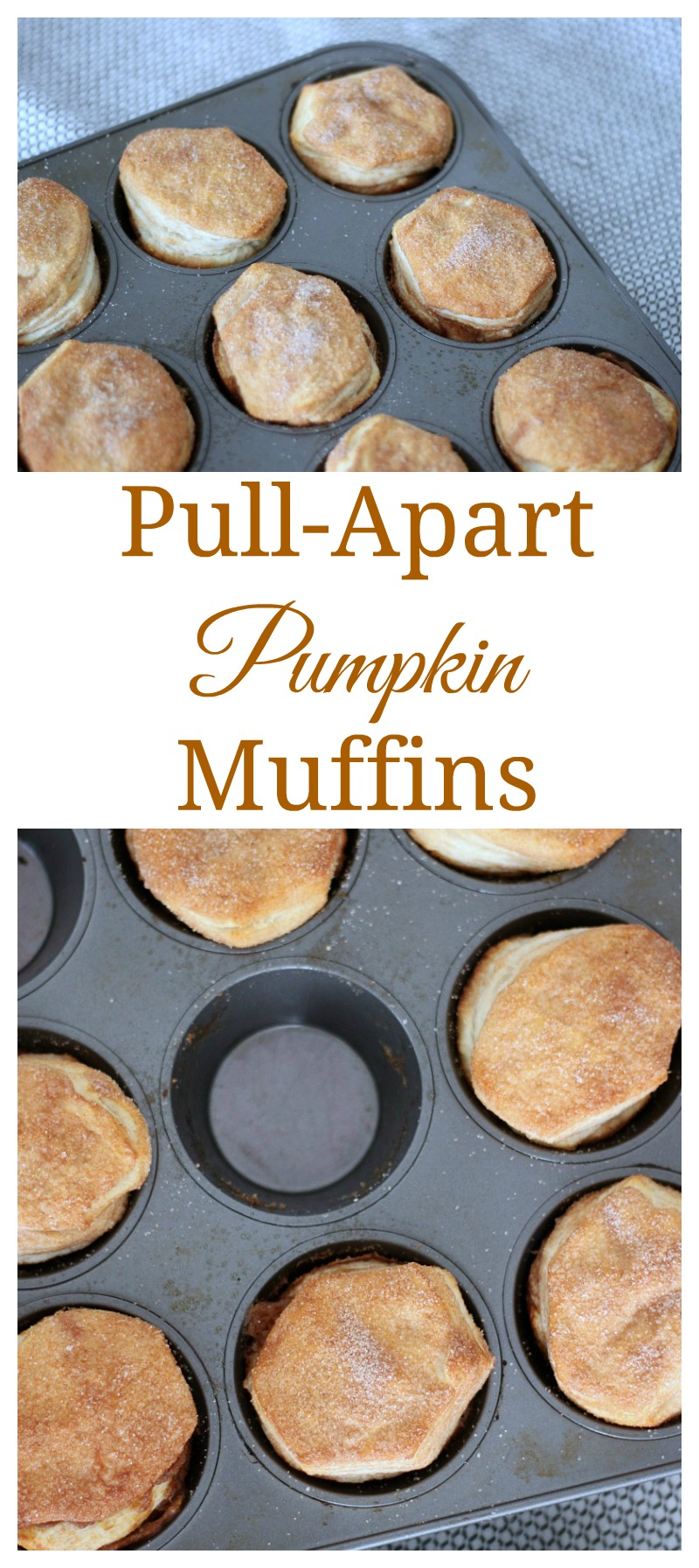 These pull-apart pumpkin muffins are an easy to make holiday treat that requires few ingredients but tastes oh so good. #muffins #pumpkin