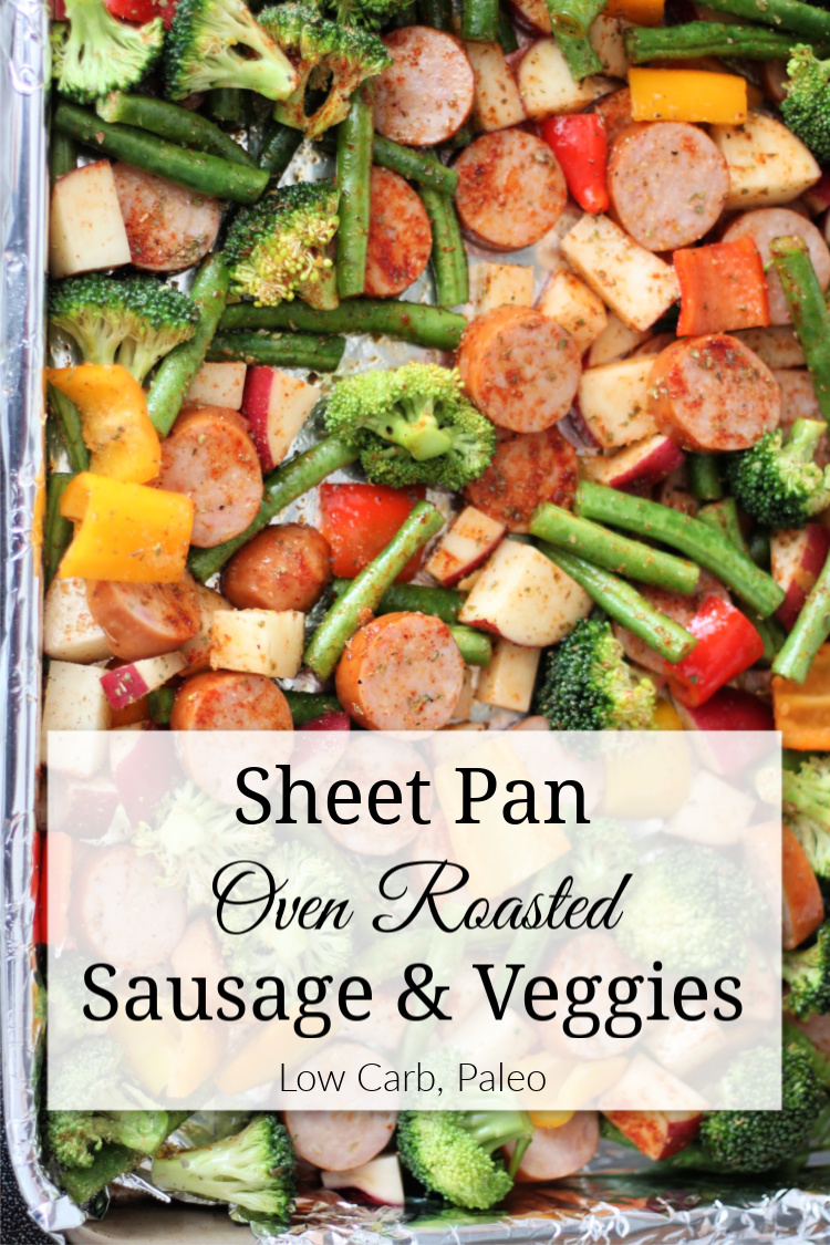 This oven roasted sausage and vegetable recipe requires only one pan, is quick to make, and will keep your family satisfied.