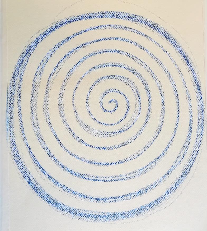Spiraal tekening kunstzinnige oefening Afke Roggeveen, art therapy, kunstzinnige therapie, beeldende therapie, vaktherapie beeldend