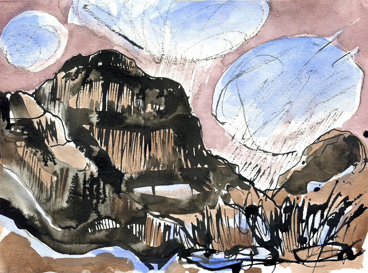 Skye Snow Clouds; Watercolour and Ink