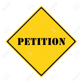 A yellow and black diamond shaped road sign with the word PETITION making a great concept.