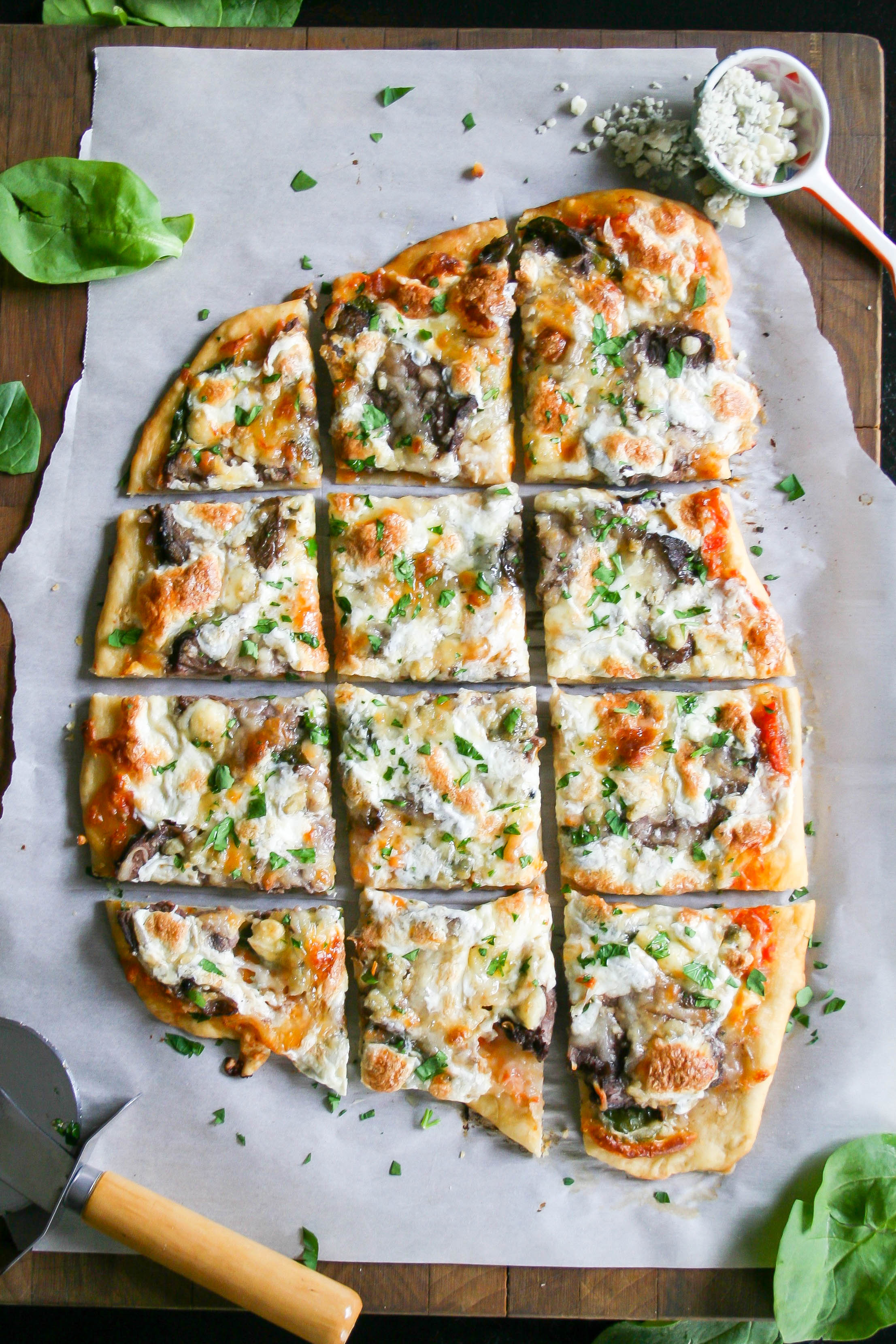 steak, shallot, and blue cheese flatbread   a flavor journal