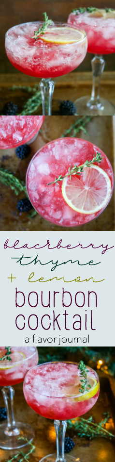 bourbon cocktail with blackberry and thyme