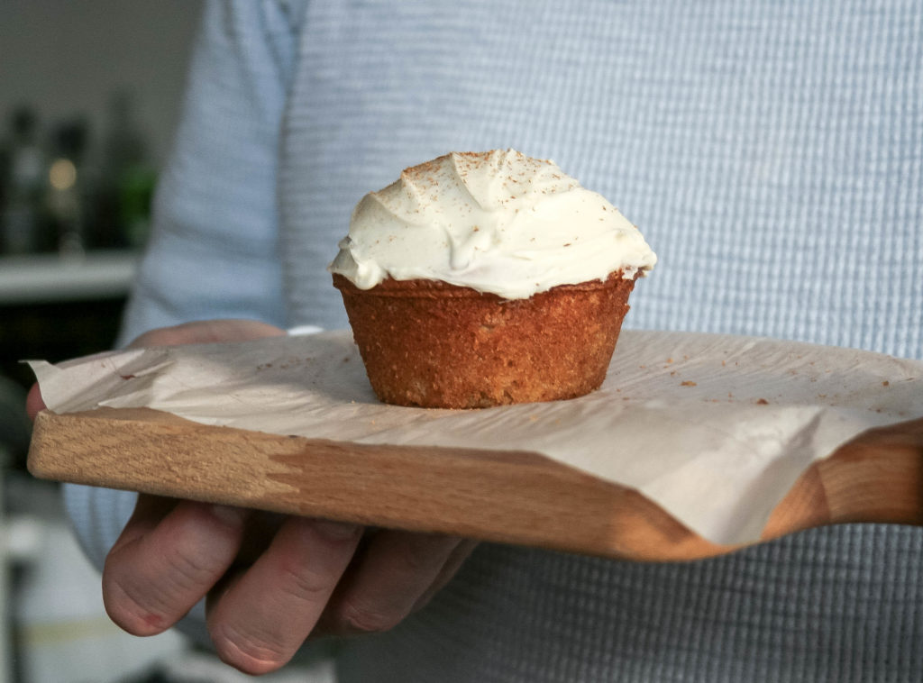 carrot cake cupcakes are condensed to a small batch recipe, making four total cupcakes. two for now, and two for later. :) small batch carrot cake cupcakes | a flavor journal food blog