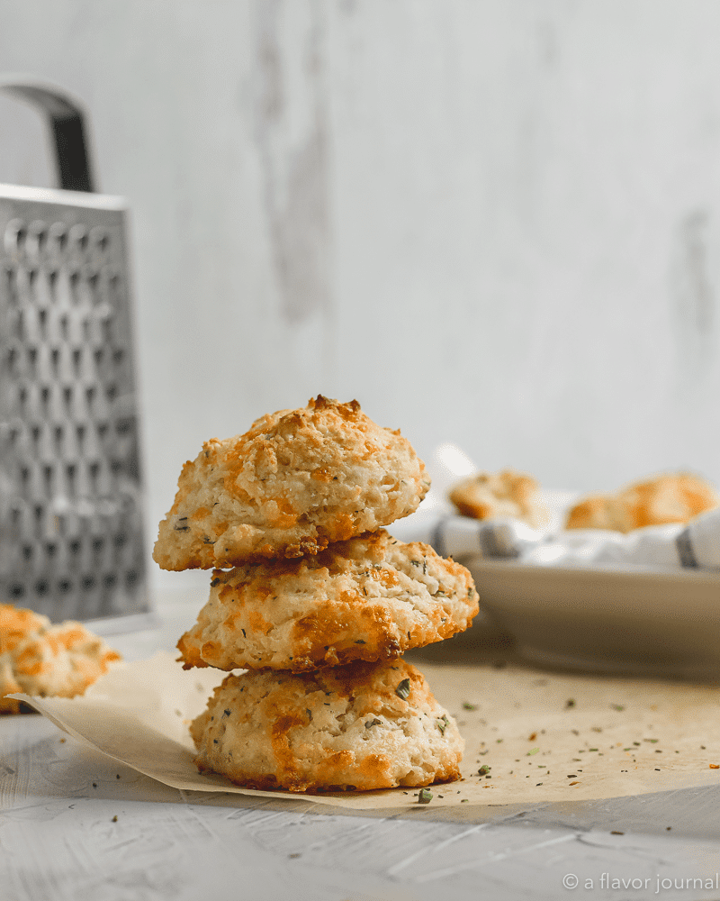 Stacked cheddar chive drop biscuits