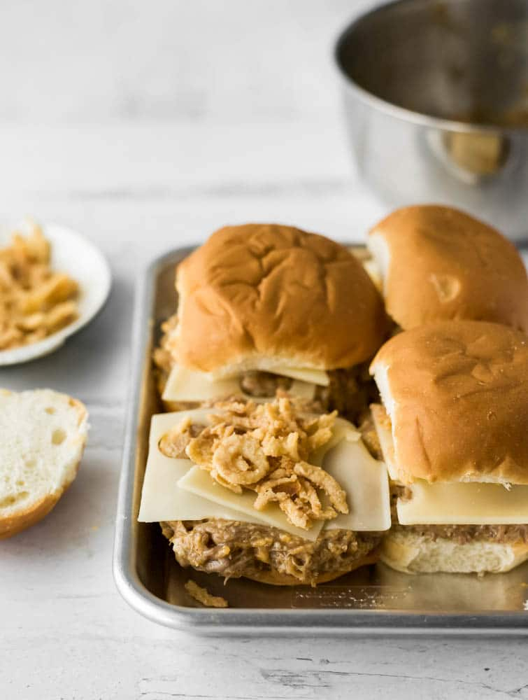 pulled pork french dip sliders : slow cooker : small batch