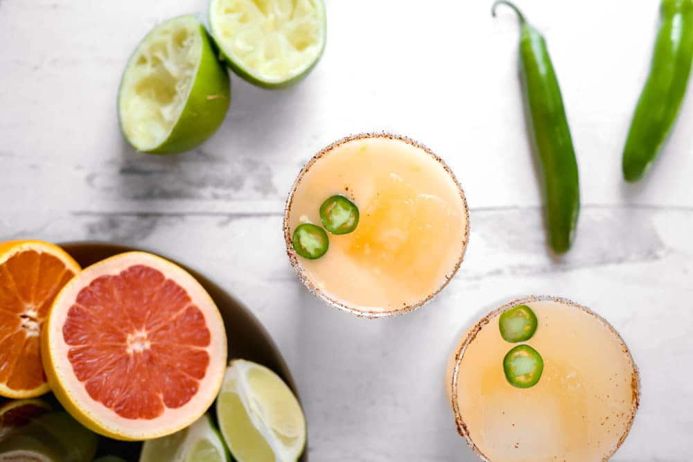 awesome grapefruits and other fresh citrus mixed with tequila blanco, simple syrup, and tequila blanco for a spicy twist on a grapefruit margarita