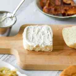 Black pepper mayonnaise for mini BLT sandwiches