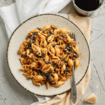 A full plate of Creamy Chorizo and Spinach Pasta