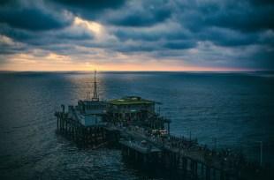 Santa Monica Pier in blue