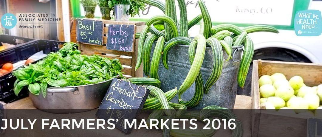July 2016 Farmers' Markets