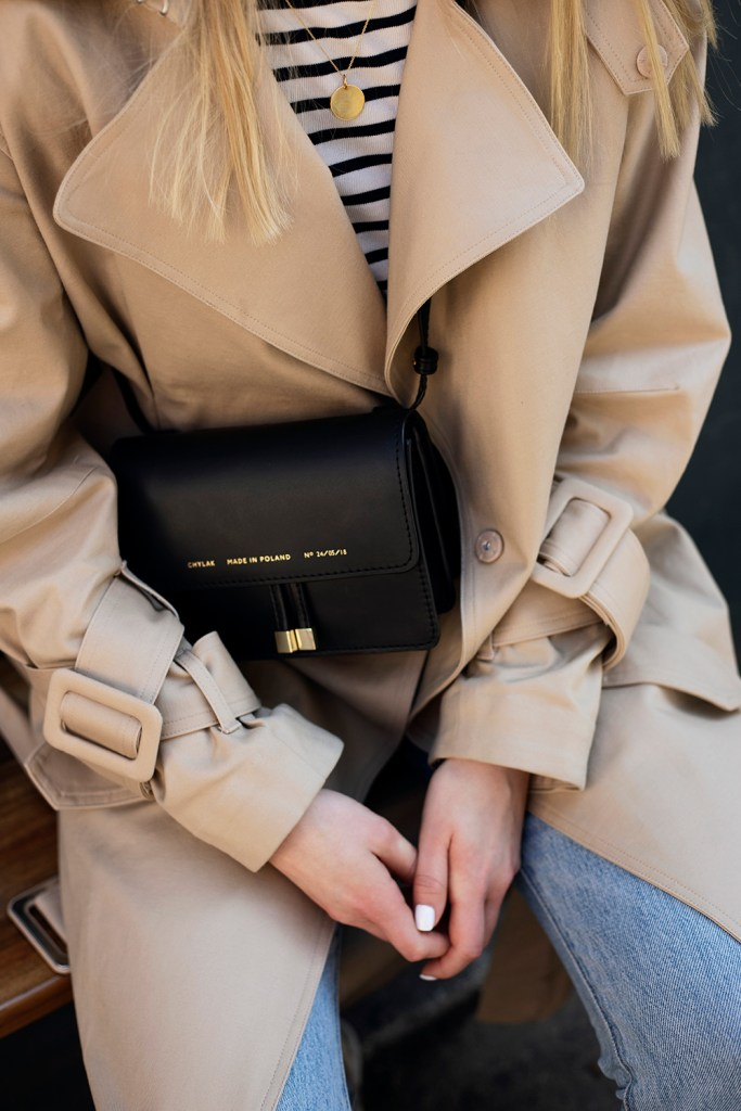 Beige H&M trench and Zofia Chylak bag