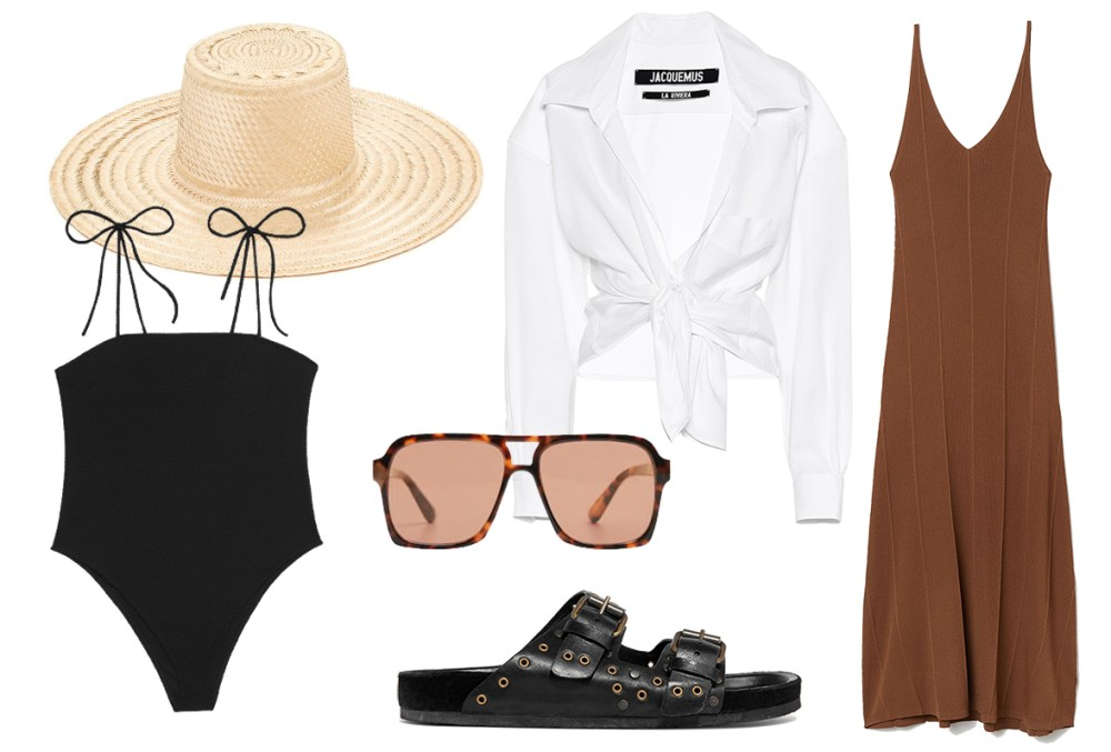 Summer essentials straw hat Janessa Leone, white shirt Jacquemus, flats Isabel Marant