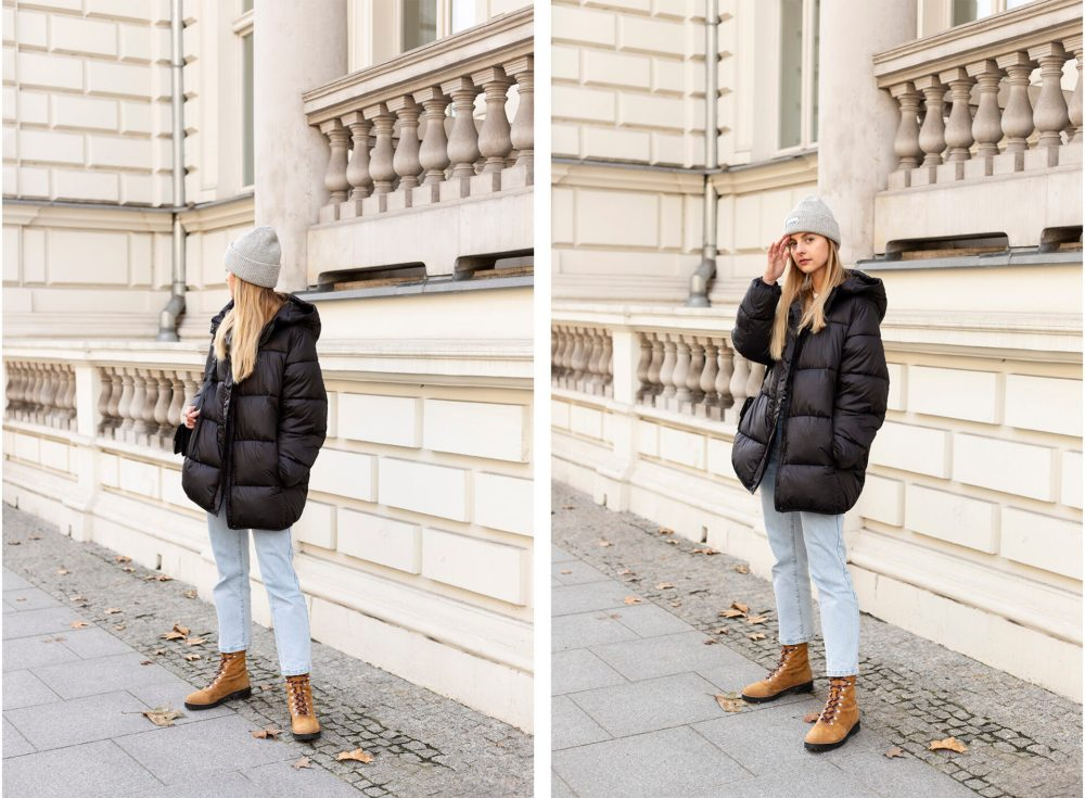 Puffer jacket and hiking boots from H&M