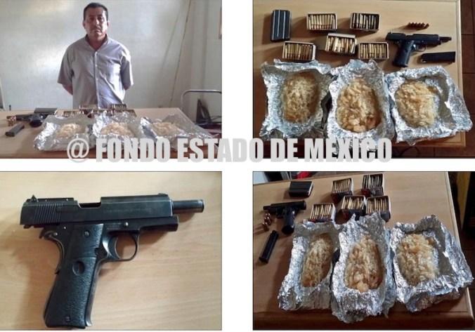 Detienen con arma, cartuchos y droga a jefe policiaco en Edomex