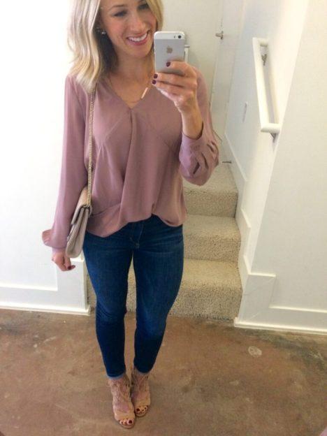 drape front blouse