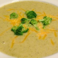 Creamy Broccoli Soup with Cheddar and Bits of Ham