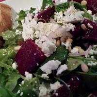 Roasted Beet Salad with Goat Cheese and Pine Nuts