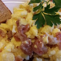 Prosciutto Brie Scrambled Eggs
