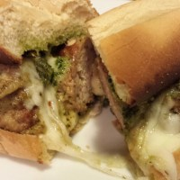 Pesto Turkey Meatball Sandwich