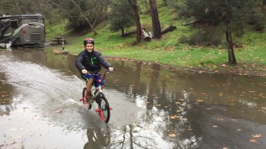 riding in puddles!