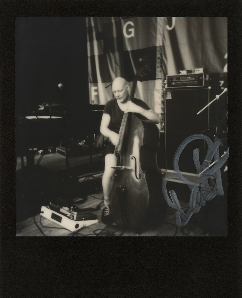 Dan Berglund, original member of the unforgetable Esbjörn Svensson Trio, trying out a double bass before his cocert at Gărâna Jazz Festival 2017