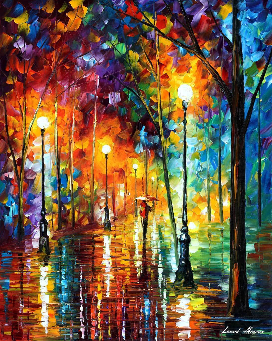 Late Stroll 2 Palette Knife Oil Painting On Canvas By