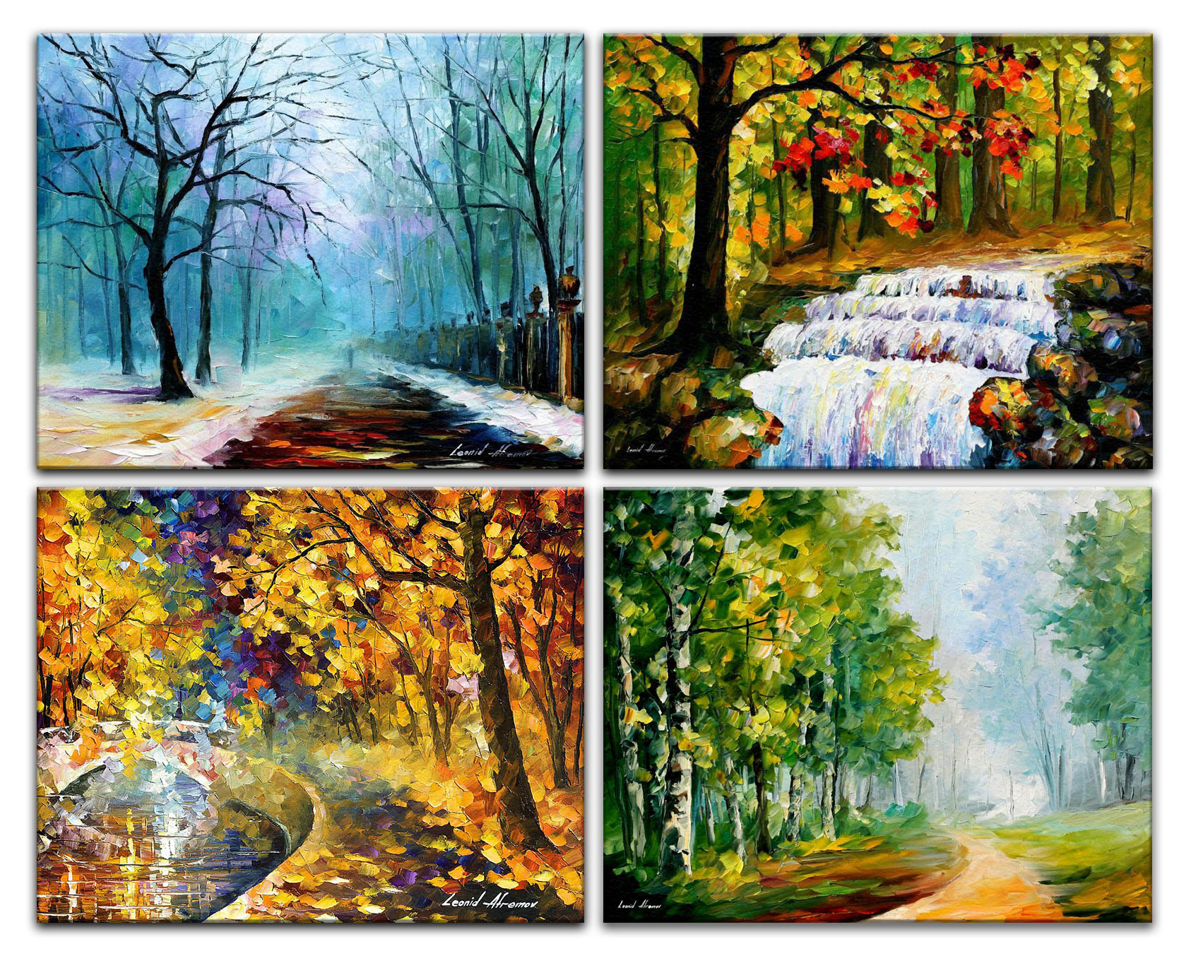 Four Seasons Palette Knife Oil Painting On Canvas By Leonid Afremov