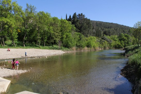 Perfect place for children to play in the river Orbieu running through Lagrasse