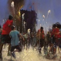 Kingdom of Kush (oil on canvas-detail) Another invention around the West 42nd Street fountain. #artcollector #realism #davidfebland #42ndstreet #art#painting #fineart #kunst #representationalart #contemporaryart #contemporarypainting #impressionism #artist #newyork #nyc #streetscene #narrativepainting #action