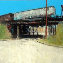 Trestle (oil on canvas) l bicycled past this #train #trestle in #richmond #virginia for 10 years before l decided to paint it. #freighttrain #art #arte #artist #artcollector #modernart #gallery #fineart #kunst #representationalart #realism #impressionism #light #painting #instaart #oiloncanvas #oilpainting #davidfebland #architecture #contemporaryart#paint