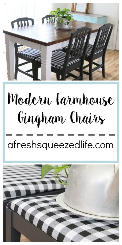 A fresh coat of paint and new seat covers made these yard-sale chairs perfect! You will love these modern farmhouse chairs!  MODERN FARMHOUSE GINGHAM CHAIRS
