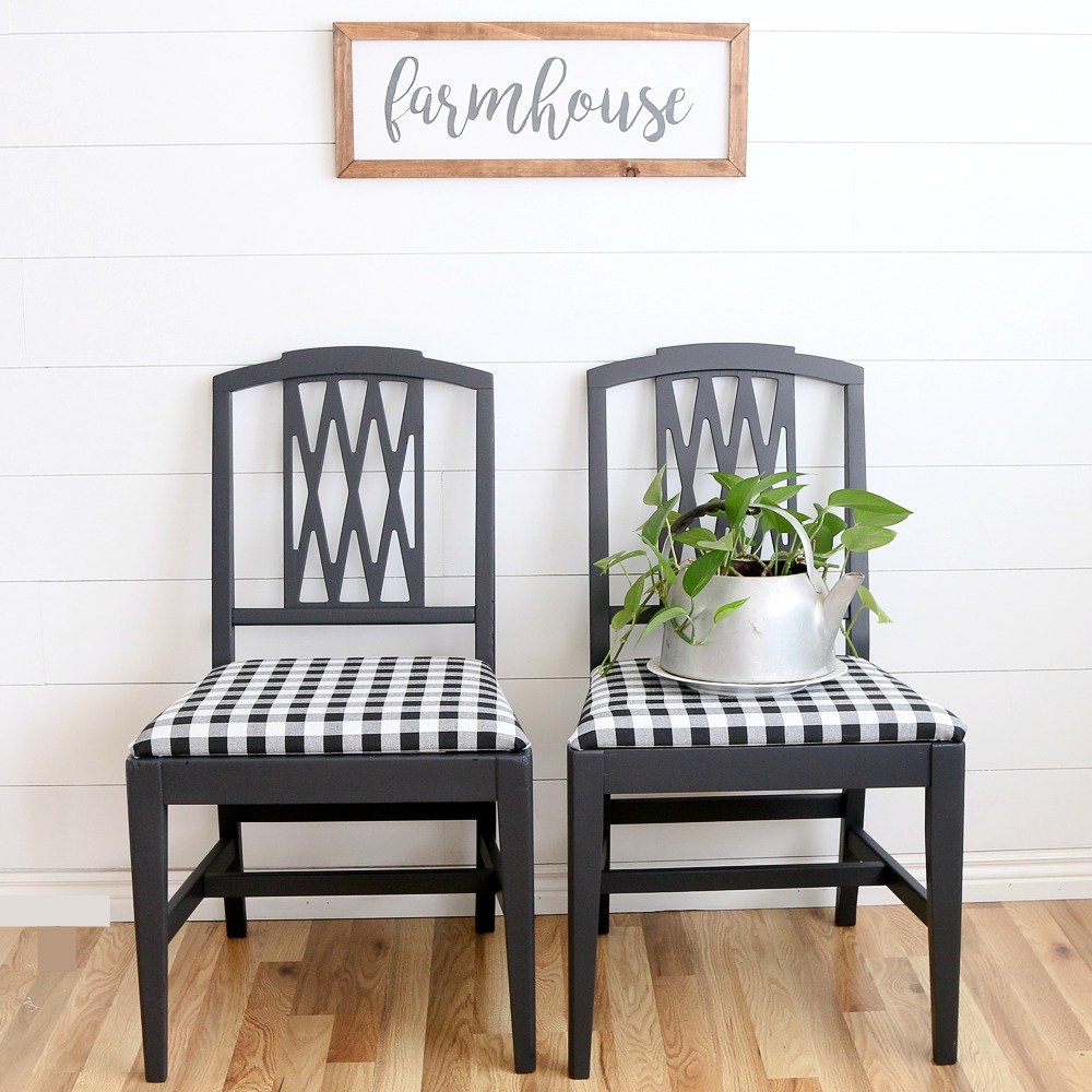 Peachy Modern Farmhouse Gingham Chairs A Fresh Squeezed Life Andrewgaddart Wooden Chair Designs For Living Room Andrewgaddartcom