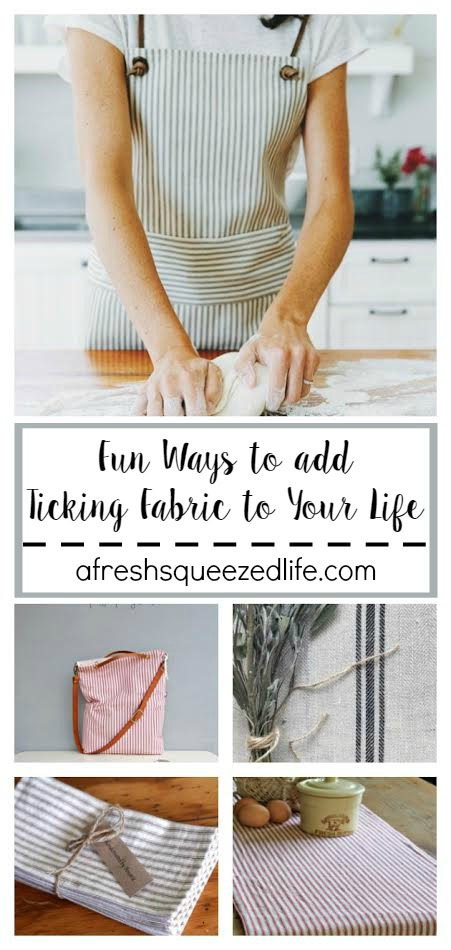 Ticking fabric is a wonderful, natural fabrics that is understated and oh-so-cute! Let me show you some fun ways to add ticking fabric to your life! FUN WAYS TO ADD TICKING FABRIC TO YOUR LIFE
