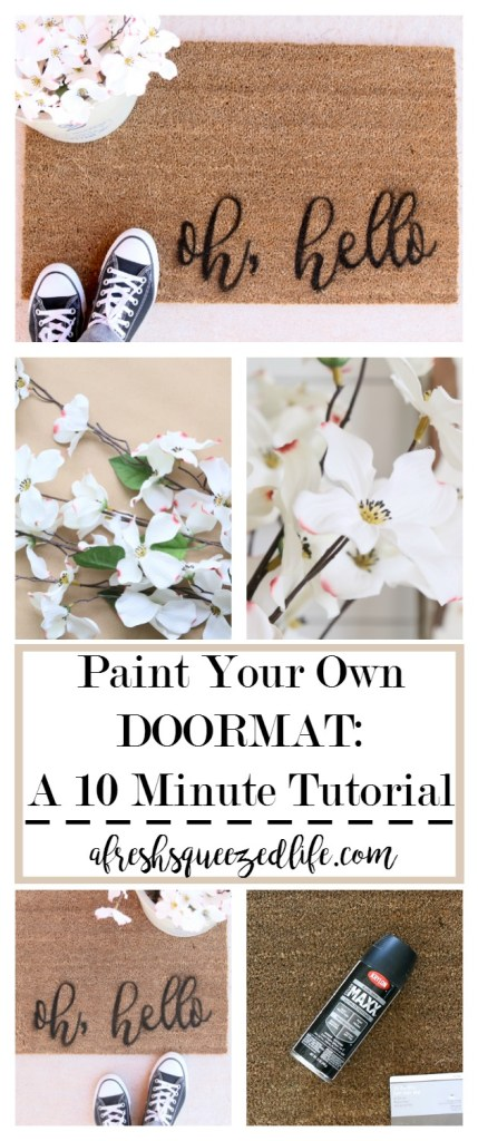 Are you looking for a quick and fun tutorial? Let me show you how to paint your own doormat in about 10 minutes. It's a fun pick-me-up for your front door! PAINT YOUR OWN DOORMAT IN 10 MINUTES