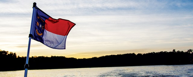 Lake Norman Living NC Flag at Dusk